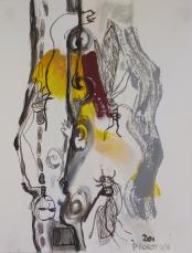 Le Chant de la Vague Grise (2011) : technique mixte sur Papier   33 x 25 cm.
