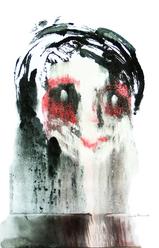 Clown (2006) : Acrylique monotype sur Papier   50 x 33 cm.