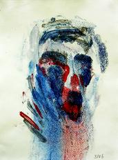 Clown (2006) : Acrylique monotype sur Papier   32 x 24 cm.