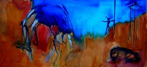 Sans Titre (2006) : Huile sur Toile   75 x 150 cm.