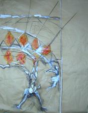 Sans Titre (2006) : technique mixte sur Papier craft   106 x 82 cm.