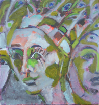 Paons (2006) : Huile sur Contreplaqué   42 x 40 cm.