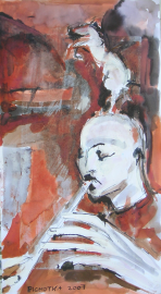 La Flûte (2007) : Acrylique sur Papier   65 x 35 cm.