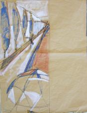 Allée de Peuplier (2006) : technique mixte sur Papier   106 x 82 cm.