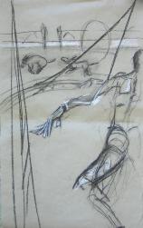 Les Ânes (2006) : Craie sur Papier   113 x 70 cm.