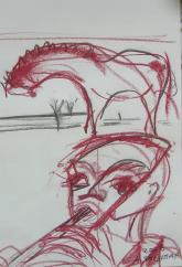 La Flûte (2006) : Craie sur Papier   40 x 30 cm.