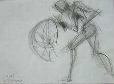 La Roue (2006) : Fusain sur Papier   30 x 40 cm.