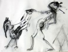 Promenade (2006) : Fusain sur Papier   30 x 40 cm.