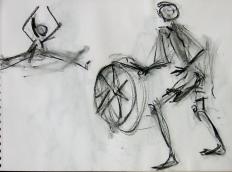 La Roue (2006) : Encre sur Papier   30 x 40 cm.