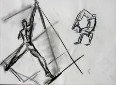 Acrobates (2006) : Fusain sur Papier   30 x 40 cm.