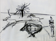 Les Ânes (2006) : Fusain sur Papier   30 x 40 cm.