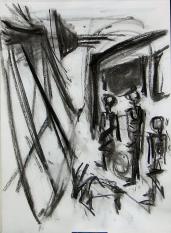La Caravane (2006) : Fusain sur Papier   30 x 40 cm.