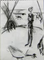 La Fille de la Caravane (2006) : Fusain sur Papier   40 x 30 cm.