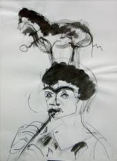 La Flûte (2006) : Encre sur Papier   40 x 30 cm.