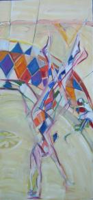 La Fille à la Robe Blanche (2006) : Huile sur Toile   150 x 70 cm.