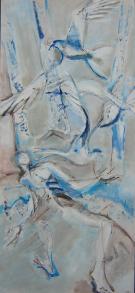 Oiseaux 2 (2007) : technique mixte sur Toile   150 x 75 cm.