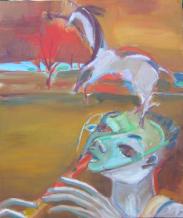 Joueur de Flûte (2006) : technique mixte sur Toile   58 x 50 cm.
