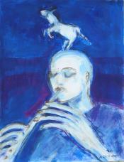 La Flûte (2007) : Acrylique sur Papier   65 x 50 cm.