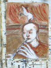 La Flûte (2007) : technique mixte sur Papier   65 x 50 cm.