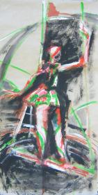 Trapéziste (2007) : Acrylique sur Papier   138 x 70 cm.