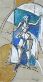 Trapéziste (2007) : technique mixte sur Papier   138 x 70 cm.