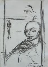 La Flûte (2007) : Fusain sur Papier   40 x 30 cm.