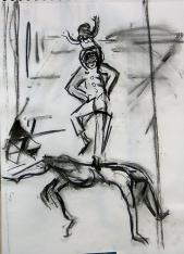 Pyramide (2007) : Fusain sur Papier   40 x 30 cm.