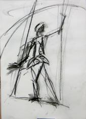 Trapéziste (2007) : Fusain sur Papier   40 x 30 cm.