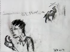 La Pomme (2007) : Fusain sur Papier   30 x 40 cm.