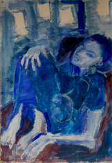 Jeune Femme à Dakar 4 (2016) : Acrylique sur Papier   110 x 75 cm.
