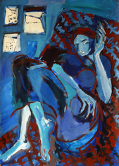 Jeune Femme à Dakar 5 (2016) : Acrylique sur Papier   110 x 75 cm.