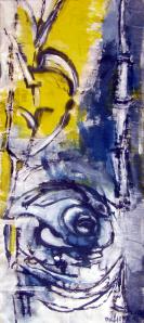 Syrinx (2012) : technique mixte sur Toile libre   142 x 61 cm.