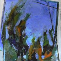 Fenêtre Branches 12 (2012) : Acrylique sur Toile   100 x 100 cm.
