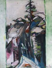 Chemin et Cèdre (2015) : Acrylique sur Toile   116 x 89 cm.