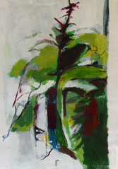 Chemin et Cèdre (2015) : Acrylique sur Papier   110 x 75 cm.