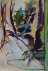 Chemin et Tronc du Cèdre (2015) : Acrylique sur Papier   110 x 75 cm.