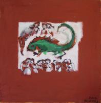 Les Femmes Dorment (2010) : Acrylique sur Papier craft   99 x 98 cm.