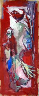 Priontemps (2010) : Acrylique sur Papier craft   99 x 41 cm.