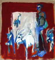 Août (2010) : Acrylique sur Papier craft   77 x 69 cm.