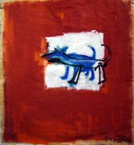 Chien (2010) : Acrylique sur Papier craft   99 x 94 cm.