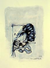 Migraine (2009) : technique mixte sur Papier   32 x 24 cm.