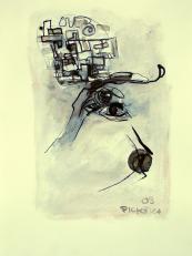 Oeil Gauche (2009) : technique mixte sur Papier   32 x 24 cm.