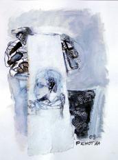 Trompe (2009) : technique mixte sur Papier   32 x 24 cm.