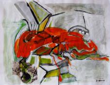 Méduse (2009) : technique mixte sur Papier   50 x 64 cm.