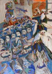 Fête avec un Lys (2017) : Acrylique sur Papier   110 x 75 cm.