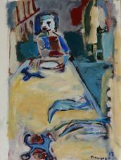 La Nappe (2017) : Acrylique sur Papier   70 x 50 cm.