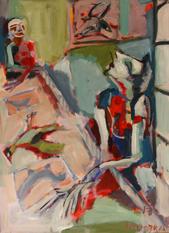 La Nappe (2017) : Acrylique sur Papier   110 x 75 cm.