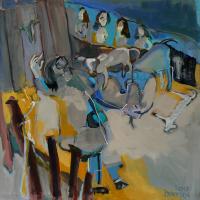 L'homme aux Cheveux Longs Joue avec son Veaun (2013) : Acrylique sur Toile   100 x 100 cm.