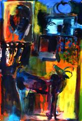 La Question de la Pomme (2019) : Acrylique sur Papier   110 x 75 cm.