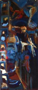 Les Marabouts (2019) : Acrylique sur Papier   123 x 53 cm.